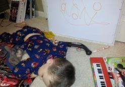 Littlest sleeping during schooltime