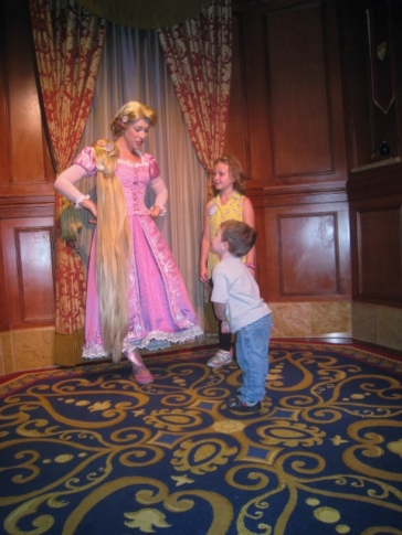teaching yoga to Repunzel