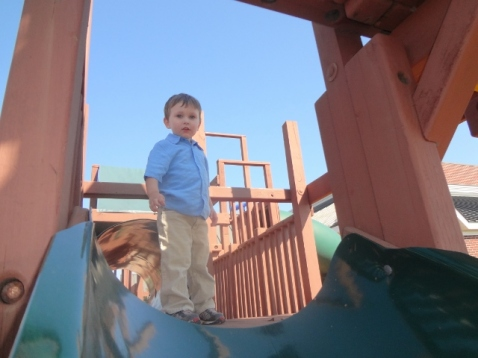 Daddy took Littlest outside to play when he was done at Children's Sabbath