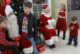 chatting with Santa and Mrs. Clause
