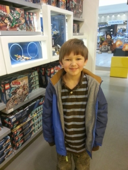 Middle Boy at Lego store