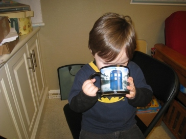 Littlest helping himself to my hot chocolate while I was editing these pictures