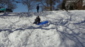 yours truly sledding with Littlest