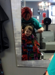 Littlest getting a much needed haircut