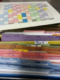 coordinated yearly planner with color coded weekly files