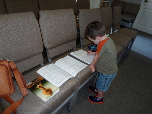 Kindergarten in church Sanctuary while Sparkles takes sewing lessons