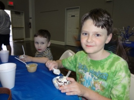 Littlest and Oldest enjoying ice cream at VBS
