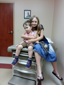 Sparkles and Littlest at the doctor's office