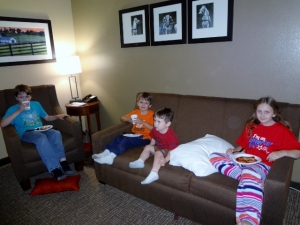 enjoying Donato's pizza in our hotel room