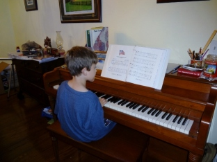 Middle Boy practicing The Star Spangled Banner