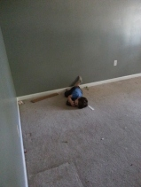 Littlest having a moment in his empty room