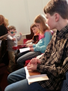 Littlest being himself at church