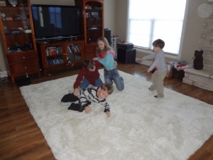 wrestling math on the new area rug