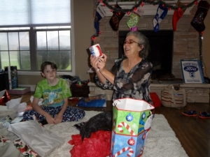 Grandma opening her gifts