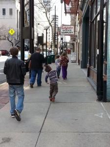 walking through downtown