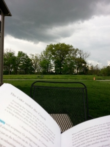 reading outside waiting for a storm