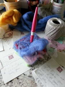 needle felting the layers of the heavens
