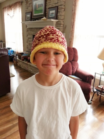 Middle Boy finished his hat