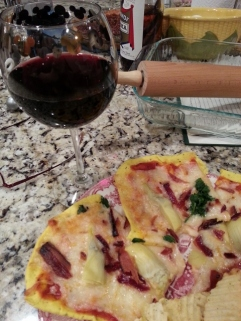 homemade pizza and wine after a really long day