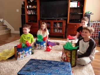 getting ready to open gifts