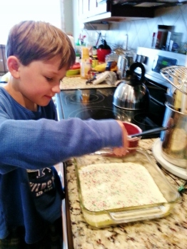 Middle Boy making fudge