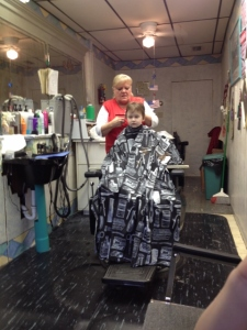 Littlest getting a hair cut