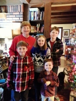 The kids with their piano teacher on Christmas Day