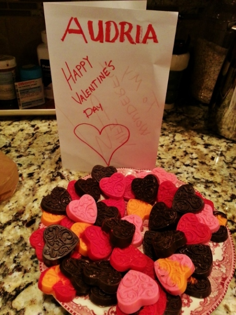homemade chocolates and card