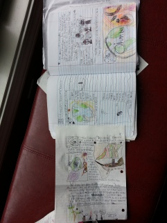 Middle Boy's notebook...it is sooo messy.