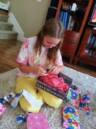 Sparkles opening gift
