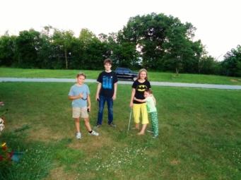 my crew playing in the yard