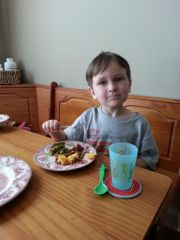 Littlest with Oldest's meal