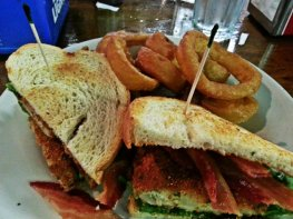 the bast bacon, lettuce and fried green tomato sandwich ever