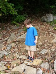 Littlest looking for nature treasures