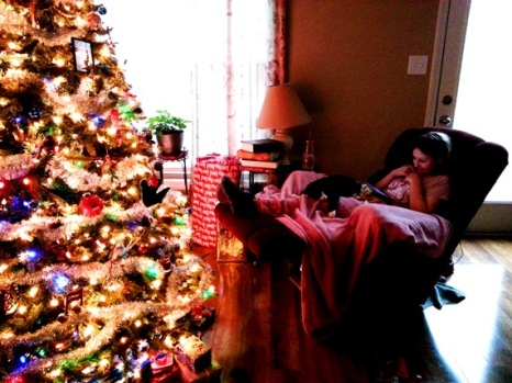 Sparkles and Boots by the tree. This is the day she fell ill.
