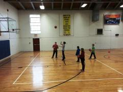 shooting hoops before Adventure School starts