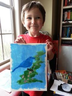 Littlest and his bluebird