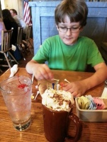 "out with Middle Boy enjoying our ""crafted"" beverages"