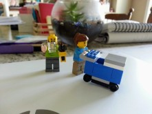 lego creation of me as ClickList employee and my husband with a mug and tools