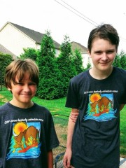 with their t-shirts