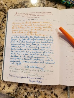 journal page opposite of illuminated page showing no shadowing to other side