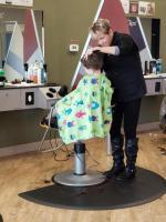 Littlest getting a haircut